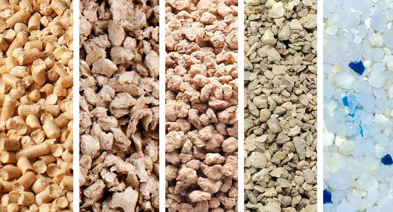 Collage mit fünf verschiedenen Katzenstreuarten: zwei Arten Naturstreu, zwei Sorten Mineralstreu und Silikatstreu